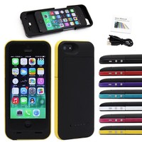 Iphone 5 Battery Case 2500mah External Power Bank Charger (Red)