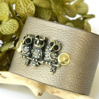 Soft Leatherette Cuff Bracelet Pewter Rhinestone Owls Adjustable