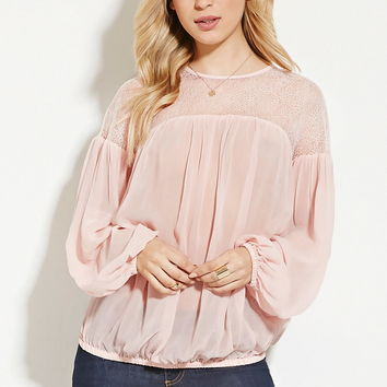 Sheer Lace-Paneled Top | Forever 21 - 2000150374