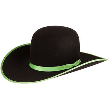 Rodeo King 5X Black with Lime Green Bound Edge Cowboy Hat