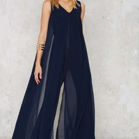 Lavish Alice Float On Flare Jumpsuit - Navy