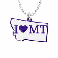 I Love Montana Silver State Necklace with Color Accent