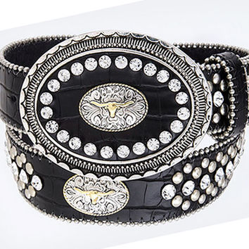 Western Black Leather Belt with Steer Head Conchos and Rhinestones