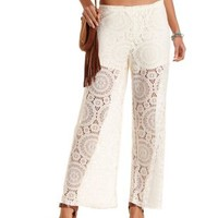 Ivory Sheer Crochet Palazzo Pants by Charlotte Russe