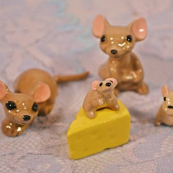 FREE SHIPPING Miniature Mouse Figurines, Vintage Collectible Miniatures