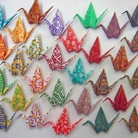 29 Chiyogami Print Paper Cranes  Proceeds to Japan by MadeByJo