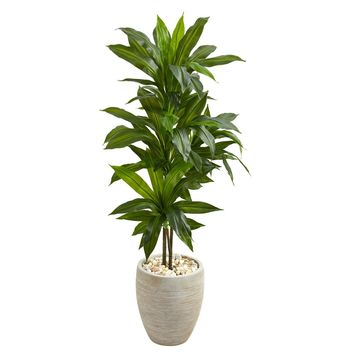 4' Dracaena Artificial Plant in Sand Colored Planter (Real Touch) | Overstock.com Shopping - The Best Deals on Silk Plants