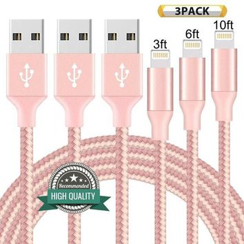 DCCKV2S Youer Lightning Cable 3Pack 3FT 6FT 10FT Nylon Braided Certified iPhone Cable USB Cord Charging Charger for Apple iPhone 7, 7 Plus, 6, 6s, 6+, 5, 5c, 5s, SE, iPad, iPod Nano, iPod Touch (Pink)