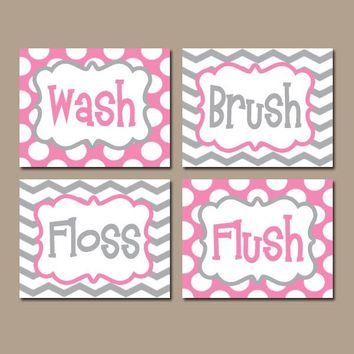 Pink Gray Bathroom Wall Art, CANVAS or Prints BATHROOM RULES Wal Art Girl Wash Brush Floss Flush Choose Colors Chevron Polka Dots Set of 4