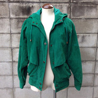 Hooded Leather Jacket 1980s Hood adventure Bound Wilsons Green Suede Women's size S