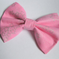 Pink fabric bow , Girls big bows,  silver star hair clips, sparkle shine stars astronomy galaxy Rockabilly Girly Classic tuxedo bow