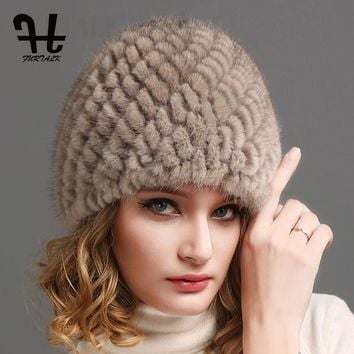 FURTALK Women Luxury knit mink fur hat winter fur hat Russian Women Natural Fur cap Winter Hat Beanie for women