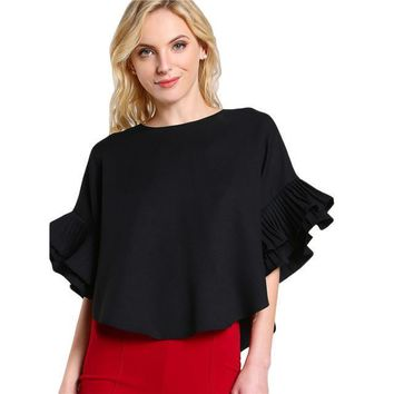 Pleated Ruffle Sleeve Dolphin Hem Round Neck Half Sleeve Casual High Low Blouse