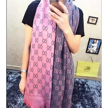 Gucci Fashion Women Easy to match Cotton Scarf Two Sides Pink