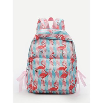 Flamingo Print Bow Tie Backpack