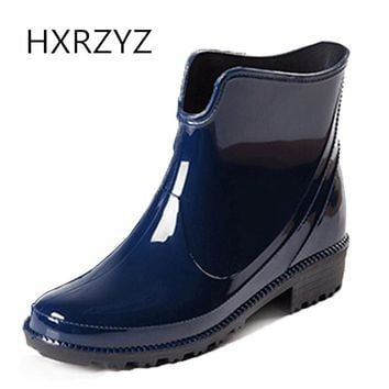 HXRZYZ women rain boots ladies black rubber ankle boots spring and autumn new fashion PVC Slip-Resistant waterproof shoes women