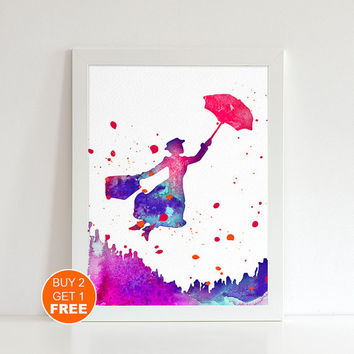 Mary Poppins Red watercolor illustration art print, Mary Poppins art, home decor, Mary Poppins Painting, Fan art,Home Decor