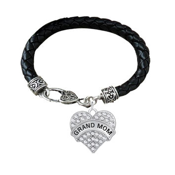 Grand Mom Clear Crystal Heart Black Leather Bracelet For Grandmother
