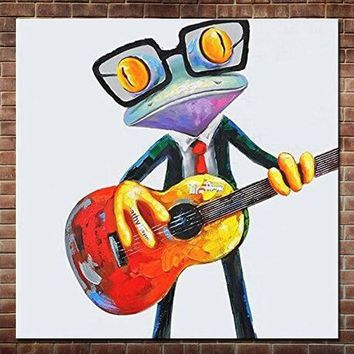 Hand Painted Modern Abstract Cartoon Animal Oil Painting On Canvas Music Frog Wall Picture Art For Children's Room Home Decor