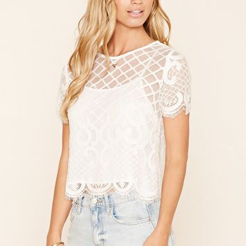Crisscross Ornate Lace Top