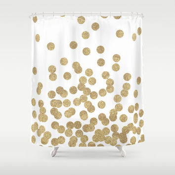 Gold Glitter Dots In Scattered Pattern Shower Curtain By Charlot