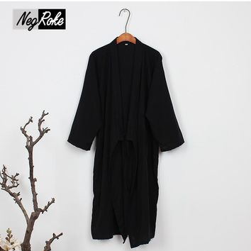 Pure cotton kimono robe men Spring simple black color male bathrobe long sleeve SPA casual robes Japanese robes for men