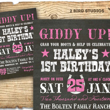 Cowgirl invitation - Cowgirl birthday invite - Western invitation - Chalkboard cowgirl printable invitation
