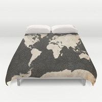 World Map - Ink lines Duvet Cover by Map Map Maps