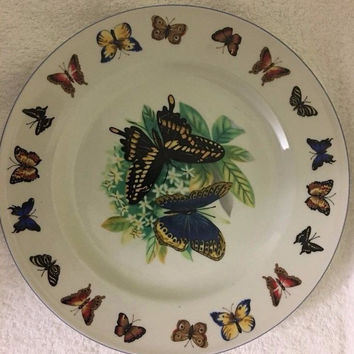 Tabletops Unlimited Butterflies Blue Trim Butterfly Rim & Center 1 Dinner Plate