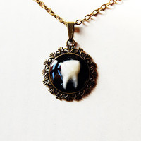 Rotten Tooth - Handmade Vintage Cameo Pendant Necklace