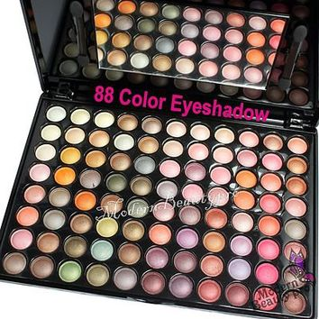 88 Shimmer Color Eyeshadow Cosmetic Makeup Palette & Brush Mirror Set #88P05