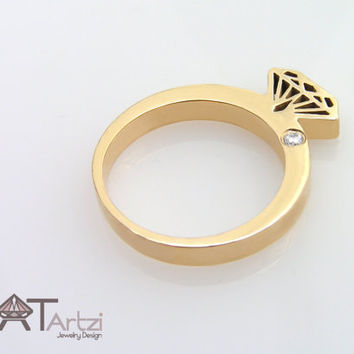 Diamond shaped gold ring with diamond studded, Diamond silhouette ring, Diamond shape ring, Diamond form, Diamond ring, Gold diamond ring