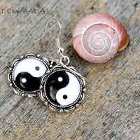 Yin Yang Black & White Earrings Delicate feminine Jewelry from MADEbyMADA