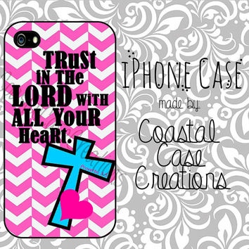 Pink Chevron and Turquoise Cross Bible Verse Apple iPhone 4 and 5 Hard Plastic or Rubber Phone Case Cover Original Design