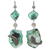 18K White Gold, Emerald and Diamond Earrings | Moda Operandi