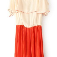 Orange Off the Shoulder Ruffles Pleated Dress - Sheinside.com