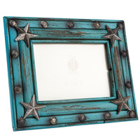 HiEnd Accents Turquoise Painted Distressed 5X7 Frame