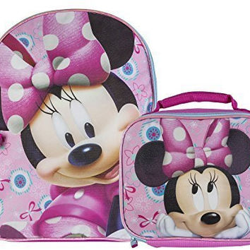 Disney Little Girls' Minnie Mouse Backpack with Lunch Box, Pink, One Size