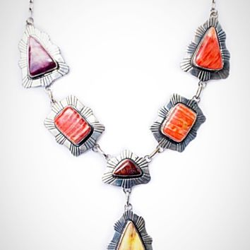 Spiny Oyster and Sterling Silver Statement Necklace