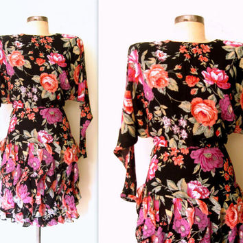 Floral Dress / Ruffled Floral Dress /  Floral Chiffon