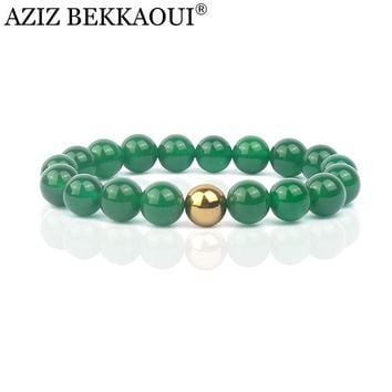 Fashion New Brand Design Luxurious Natural Stone Braclets Rose Gold Color Bracelets Green Beads Stretch Bracelet For Women Gift