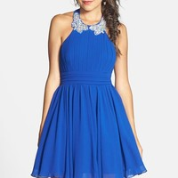 Junior Women's Way-In Embellished Halter Fit & Flare Dress