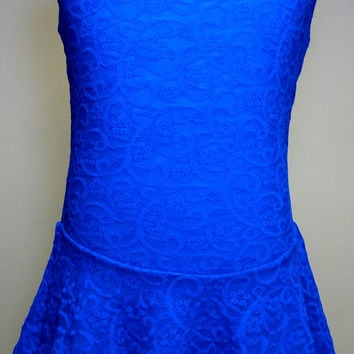Cobalt Blue Figure Skating Dress / Ice Skating Dress /Baton Twirling Dress / Dance Dress