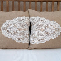 Shabby Chic Pillows Set, White Lace Pillow Covers, Decorative Throw Pillows, Shabby Chic Home Decor, Lace Pillow Case, Beige Throw Pillows
