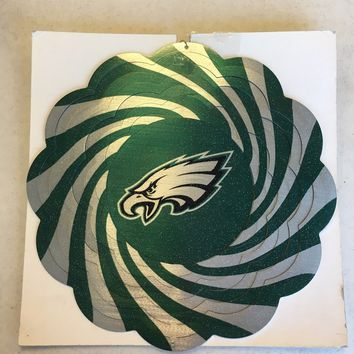 PHILADELPHIA EAGLES INDOOR OUTDOOR GARDEN METAL WIND SPINNER HOLIDAY GIFT