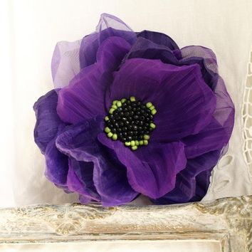 Ultra violet Oversized flower Purple flower brooch Floral hair piece Boho wedding Purple wedding Mother of bride Gift for her Large flower