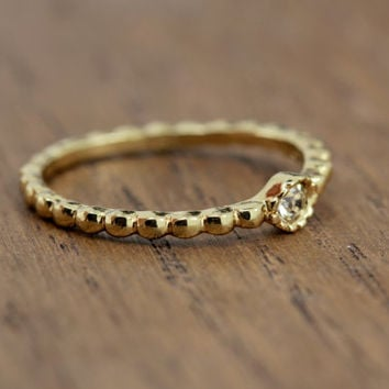 tiny stacking diamond ring, gold plated, rope band, boho chic