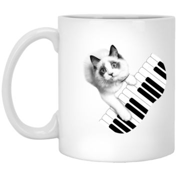 Cat Playing Piano Mug by Living You Co. | Cat Mug, Funny Cat Mug, Cat Coffee Mug