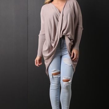 Cowl Neck High Low Sweater Knit Top