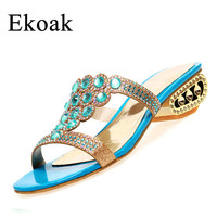 Ekoak Size 35-43 New 2017 Fashion Summer Party Shoes Woman Rhinestone Cut-outs Medium Heel Sandals Ladies Sexy Open Toe sandals